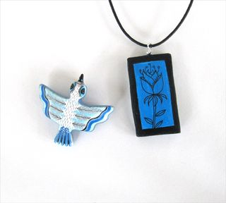 Bird:flower pendants